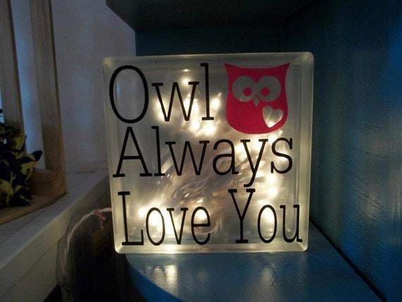 Owl Always Love You Glass Block Night Light