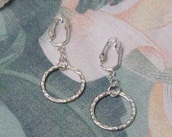 Clip on or Pierced Medium Hammered Silver Circle Hoop Earrings