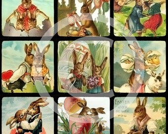 Vintage Easter Bunny Images Illustrations Digital Collage Sheet - 1x1 Inchies - INSTANT DOWNLOAD