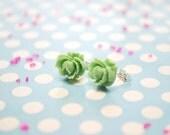 Mint Cabbage Rose Earrings