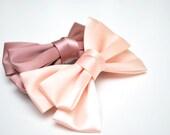 Satin Ribbon Hair Bows-Dusty Pink and Light Peach