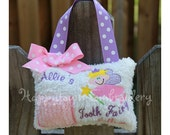Girly Girl Tooth Fairy Pillow Personalized - White