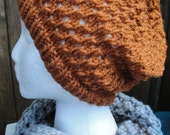 Eyelet Slouch Hat, Open Stitch, Pumpkin or Rust color. Free Shipping.