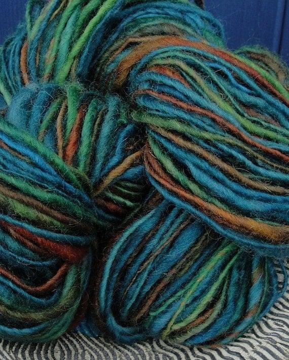 Peacock - Corriedale Wool Yarn. Hand Dyed & Spun - 2.7 oz, 115 yds.