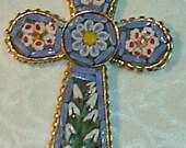Vintage Micro Mosaic CROSS Pendant
