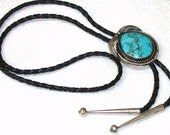 Huge Vintage Sterling Silver and Spiderweb Veined Kingman Turquoise Bolo with Applied Leaves and Hand Crafted Tips