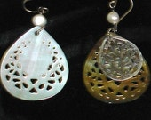 Vintage Lacy Hand Carved Cutout Openwork Mother Of Pearl & Sterling Silver Dangle Earrings