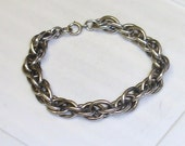 Vintage Large Thick Chunky Sterling Silver Rope Chain Blank Starter Charm Bracelet- For Chunky Heavy Charms