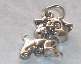 Vintage Sterling Silver Cute Cartoon Dog Puppy Bracelet Charm or Necklace Pendant