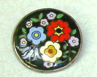 Antique Early 20th Century Viennese 900 Silver Art Deco Boho Jewelry Cloisonne Enamel Arts and Crafts Floral Pin Brooch