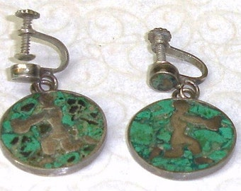 Vintage Mexican Sterling 940 Silver Turquoise Inlay Modernist Aquarius Zodiac Screwback Dangle Earrings TAXCO 1940's