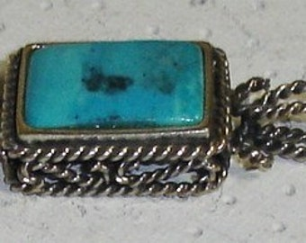 Vintage Reversible Barse 925 Sterling Silver & Square Turquoise Cabochon Twisted Wire Necklace Pendant