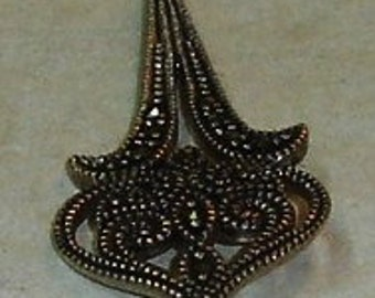 Vintage Sterling Silver and Marcasite Victorian Style Pendant