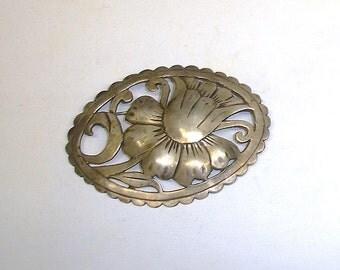 Antique Sterling Silver Handmade Victorian to Edwardian Large Scottish Sash Brooch