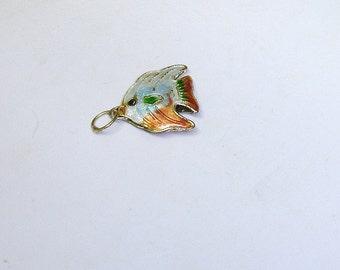 Vintage Chinese Guilloche Enamel Gilt Silver Angel Fish Bracelet Charm or Necklace Pendant