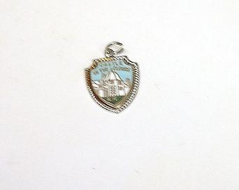 "Vintage Enameled Sterling Silver Elco Travel Souvenir Bracelet Charm - ""Castle In The Clouds, NH"""