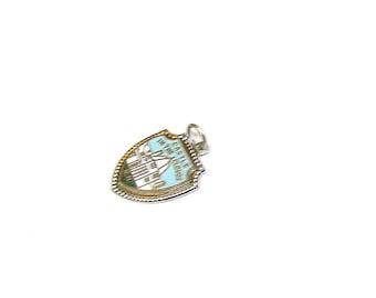 Vintage Enameled Sterling Silver Travel Souvenir Charm Bracelet Charm White Mtns -NH