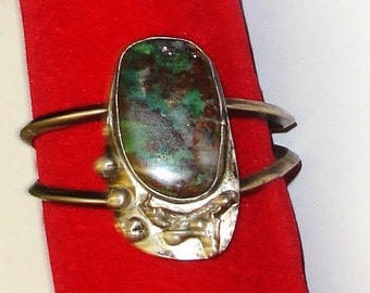 Vintage Southwest Sterling Silver Native American Large Lavander, Red & Blue-Green Cab Bracelet