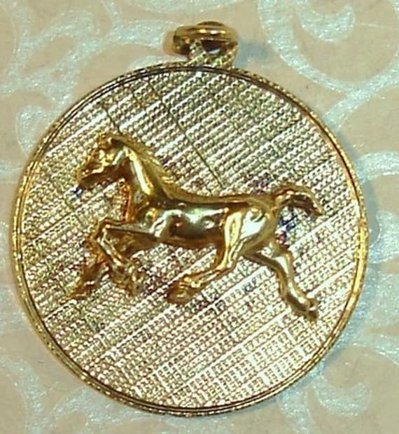 Vintage 1960's Gold Wash Sterling Silver Cantering Horse on Disc Bracelet Charm or Necklace Pendant