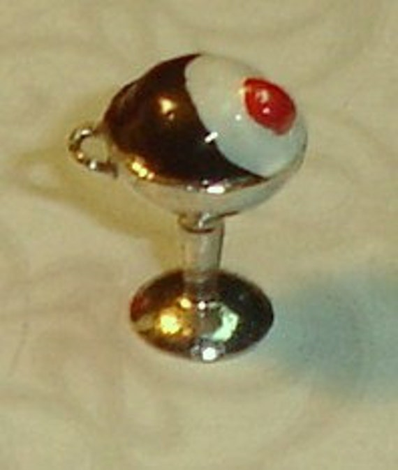 Vintage 1950's Sterling Silver Enamel Fudge Sundae Charm or Pendant