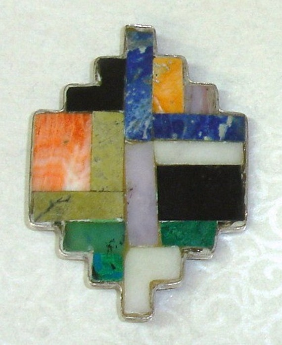 Vintage SOUTHWEST Native American Zuni Sterling Silver Stone Inlaid Saltillo Pin Brooch