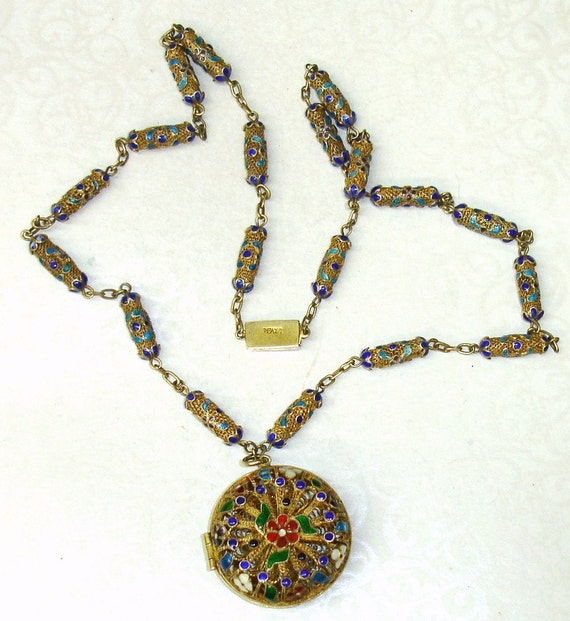 RESERVED 4 Leah-Antique 19th Century Qing Dynasty Chinese Export Gilded Silver Filigree Cloisonne Plique-a-Jour Enamel Hair Locket Necklace