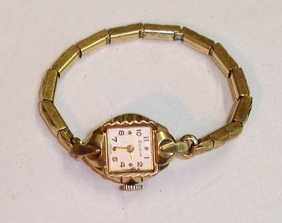 Vintage Ladies 10K YRGP Bulova 17J Watch for Parts  or Repair- Runs