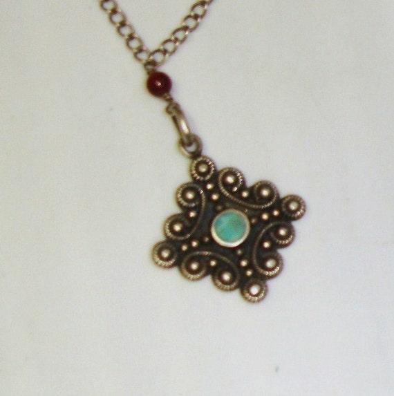 RESERVED 4 Chris-Vintage Sterling 925 Silver Diamond Shaped Cross Turquoise Set Pendant Necklace w/ Garnet Beads Adjustable