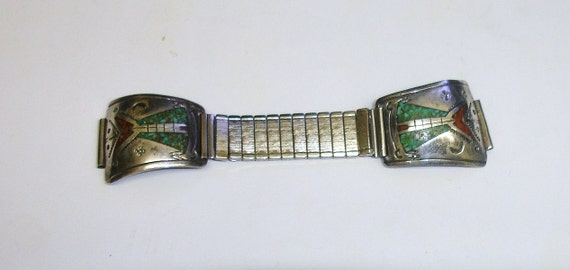Vintage Signed Old Pawn Native American Navajo Sterling Silver Red Coral And Turquoise Inlaid Watch Tips & Watch Band Unisex