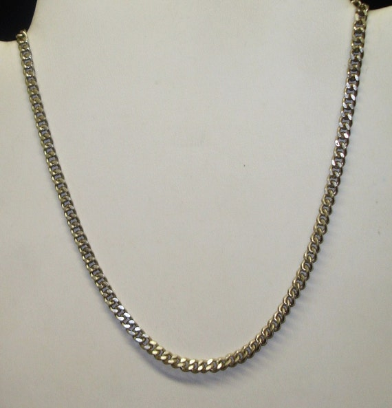 vintage sterling silver cuban link chain necklace by