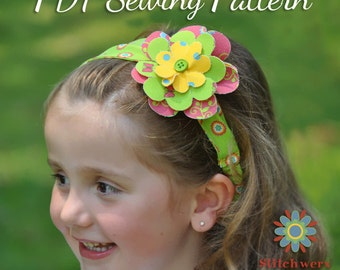 Girl's Headband Sewing Pattern - PDF Sewing Pattern S105- Child to Adult Size Headband Tutorial