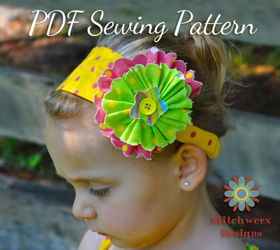 Girl's Flower Headband Sewing Pattern - PDF Sewing Pattern S105- Child to Adult Size Headband Tutorial