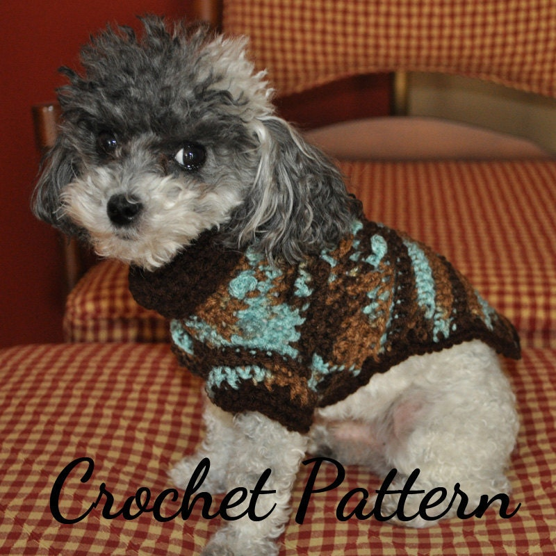 Crochet Pattern For Yorkie Sweater : DOG SWEATER Crochet PATTERN Small Dog Sweater Crochet Dog