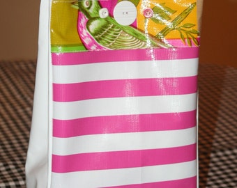 ChristinaBags Oilcloth Lunch Bag Tropical Pink With Stripes