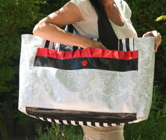 ChristinaBags Large Vinyl Oilcloth Tote Beach Bag Oilcloth Red and Silver Black Fully Lined