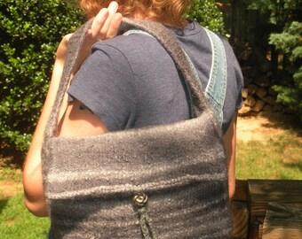 felted wool handbag, lined, gray