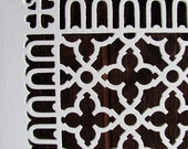 Antique Cast Iron Heat Grate White Shabby Chic Scroll Work Decoration
