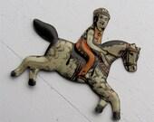 SALE Vintage Tin Horse & Jockey Toy Figurine