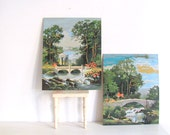 Vintage Paint By Number Large Pair Nature Water dtteam theteam