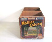 Wood Crate Vintage Fruit Crate Wood Box LARGE Mother Coloney Orange Rustic Storage Crate SALE