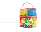 Vintage Retro Luggage - Hatbox - Tote - Storage Flower Power Groovy Travel