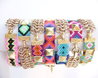 Linked Forever Studded Friendship Bracelet with Matte Gold Chain