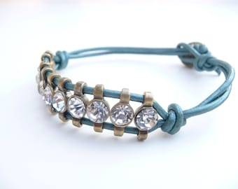 Truly Teal Leather Cord with Crystals Friendship Bracelet and Vintage Button
