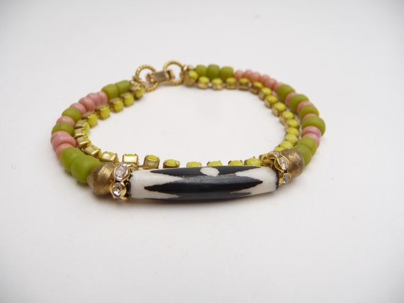 African Beads with Yellow Rhinestone Chain