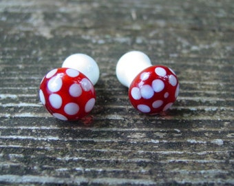 Amanita Buds Double Flare 4g gauged ear plugs earrings for stretched piercings Made to Order
