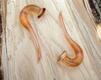 Peach Ice Talons 00g gauged ear plugs earrings talons for stretched piercings Made to Order