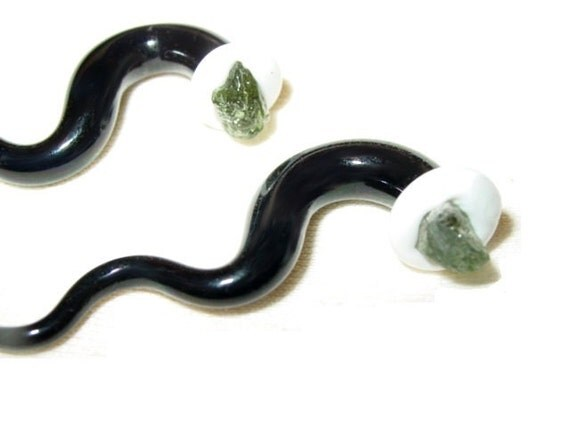 Moldavite 0g gauged ear plugs earrings talons for stretched piercings