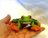 Red Eyed Tree Frog Needle Felted Wool Air Freshener