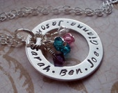 Mommy Necklace Hand Stamped Silver children's Names Personalized Birthstones