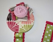 Free Shipping- Hair Accessories Holder- Hot Pink and Apple Green